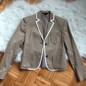 Theory Tan Blazer with White Piping